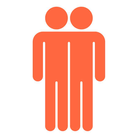 Use it in all your designs. Two men stands with his hands down. Quick and easy recolorable shape. Vector illustration a graphic element
