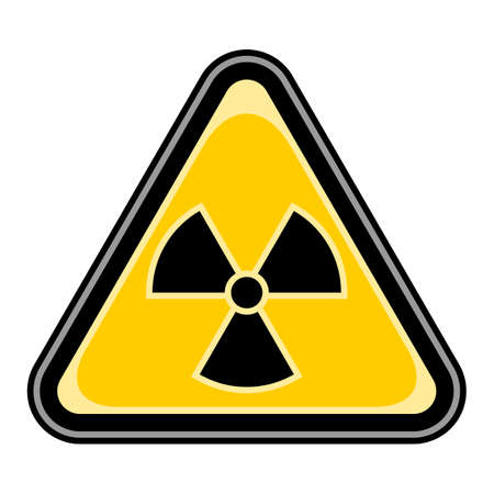 Use it in all your designs. Quick and easy recolorable vector illustration. Yellow and black triangular sticker with ionising radiation sign. Triangle hazard, warning, danger symbol Illustration