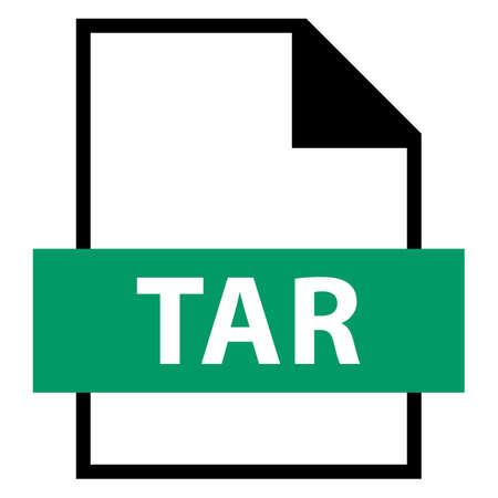 모든 디자인에서 사용하십시오. 파일 이름 확장 아이콘 플랫 스타일의 TAR 테이프 아카이브. 빠르고 쉬운 recolorable 모양. 벡터 일러스트 레이 션 그래픽