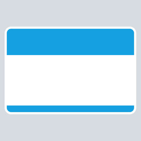 Use it in all your designs. Blue blank name tag sticker without text HELLO my name is rounded rectangular badge. Quick and easy recolorable graphic element in technique vector illustration