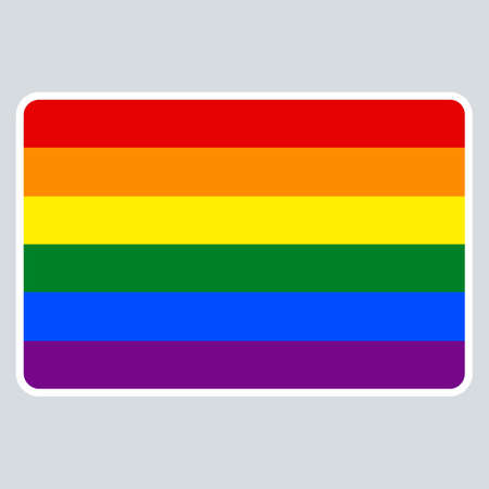 rainbow: Use it in all your designs. Blank name tag sticker without HELLO my name is rectangular badge painted in the colors of the LGBT movement rainbow flag. Quick recolorable element in vector illustration