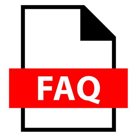 모든 디자인에서 사용하십시오. 파일 이름 확장 아이콘 FAQ 자주 묻는 질문 플랫 스타일의 문서. 빠르고 쉬운 recolorable 모양. 벡터 일러스트 레이 션 그 일러스트
