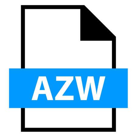 모든 디자인에서 사용하십시오. 파일 이름 확장 아이콘 AZW Amazon Word가 플랫 스타일. 빠르고 쉬운 recolorable 모양. 벡터 일러스트 레이 션 그래픽 요소입