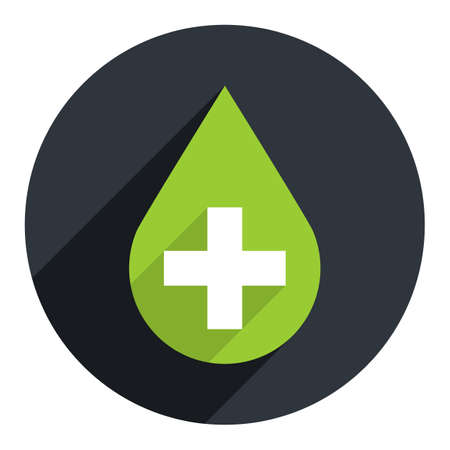 pharmacy symbol: Use it in all your designs. First aid drop green sign with white cross on circular icon. Flat long shadow style. Vector illustration a graphic element for design Illustration