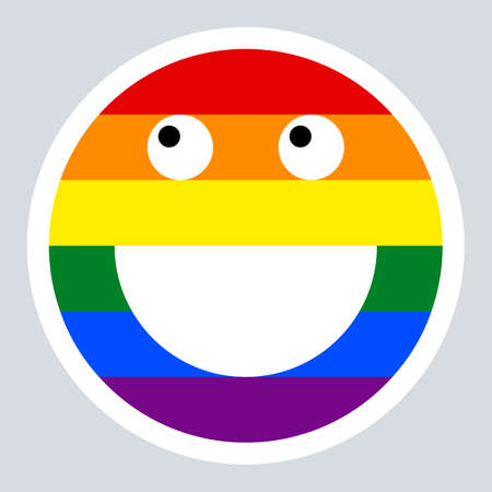 Use it in all your designs. Emoticon smiley icon happy smiling face painted in the colors of the LGBT movement rainbow flag. Quick and easy recolorable graphic element in technique vector illustration Illustration