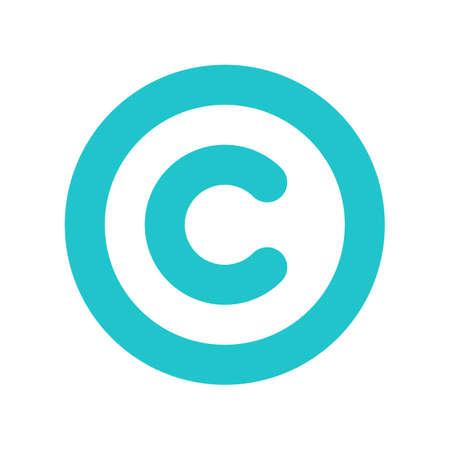 Gebruik het in al uw ontwerpen. Het auteursrechtsymbool, of copyright-teken, een omcirkelde hoofdletter C. Vlakke stijl knop web internet pictogram. Vectorillustratie een grafisch element voor ontwerp