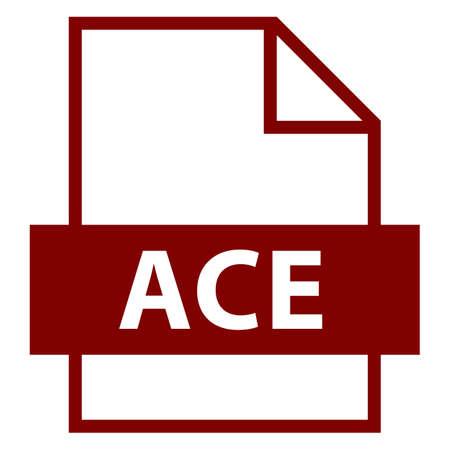 모든 디자인에서 사용하십시오. 파일 이름 확장 아이콘 ACE 압축 파일 형식이 플랫 스타일입니다. 빠르고 쉬운 recolorable 모양. 벡터 일러스트 레이 션 그