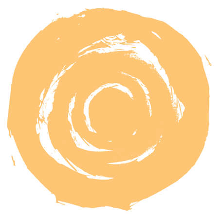 rotund: Use it in all your designs. Yellow brushstroke in the form of a round. Ink sketch drawing created in handmade technique. Quick and easy recolorable shape. Vector illustration a graphic element Illustration