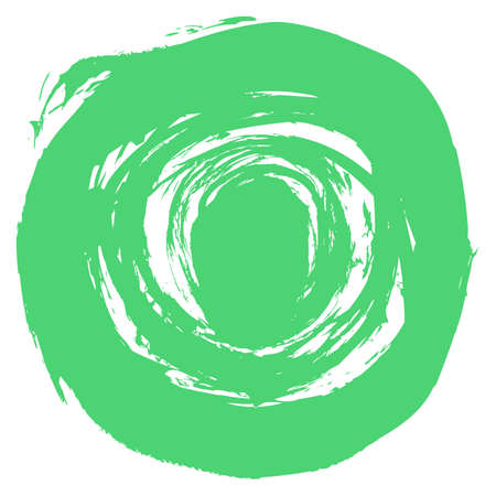 Use it in all your designs. Green brushstroke in the form of a round. Ink sketch drawing created in handmade technique. Quick and easy recolorable shape. Vector illustration a graphic element