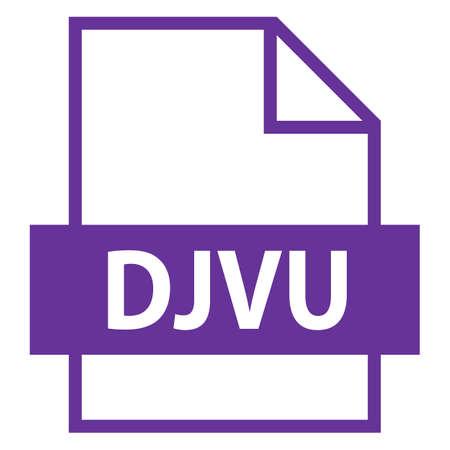 Use it in all your designs. Filename extension icon DJVU file format for scanned document in flat style. Quick and easy recolorable shape. Vector illustration a graphic element. Illustration