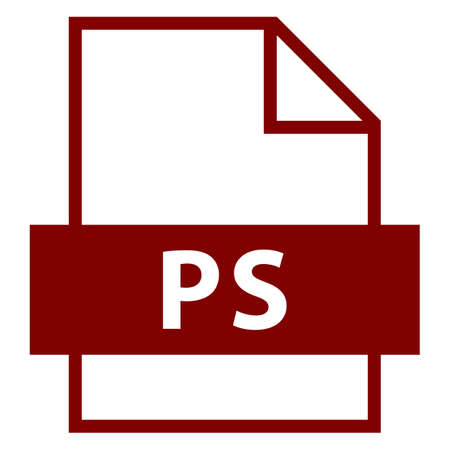 postscript: Use it in all your designs. Filename extension icon PS PostScript in flat style. Quick and easy recolorable shape. Vector illustration a graphic element. Illustration