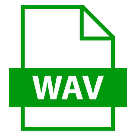 wav: Use it in all your designs. Filename extension icon WAV or WAVE Waveform Audio File Format in flat style. Quick and easy recolorable shape. Vector illustration a graphic element.