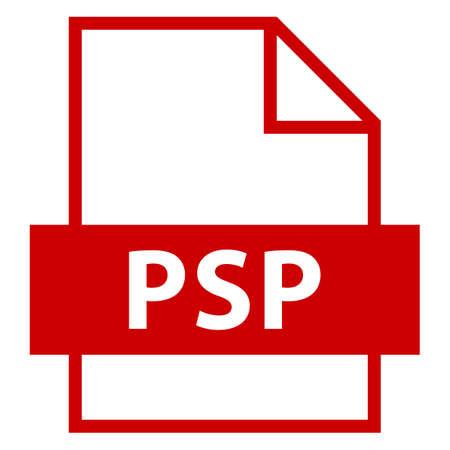 모든 디자인에서 사용하십시오. 파일 이름 연장 아이콘 PSP Paint Shop Pro는 평면 스타일입니다. 빠르고 쉬운 recolorable 모양. 벡터 일러스트 레이 션 그래픽 일러스트