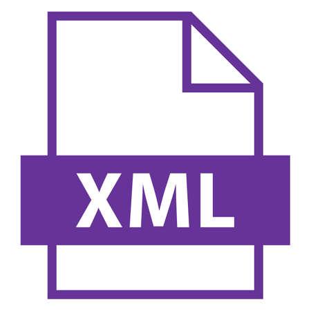 모든 디자인에서 사용하십시오. 파일 이름 확장 아이콘 XML eXtensible Markup Language (플랫 스타일). 빠르고 쉬운 recolorable 모양. 벡터 일러스트 레이 션 그래