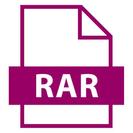 모든 디자인에서 사용하십시오. 파일 이름 확장 아이콘 RAR Roshal은 평면 스타일로 보관합니다. 빠르고 쉬운 recolorable 모양. 벡터 일러스트 레이 션 그래