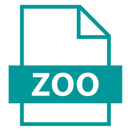 모든 디자인에서 사용하십시오. 파일 이름 확장 아이콘 ZOO LZW 압축 알고리즘을 플랫 스타일로 사용합니다. 빠르고 쉬운 recolorable 모양. 벡터 일러스트  일러스트