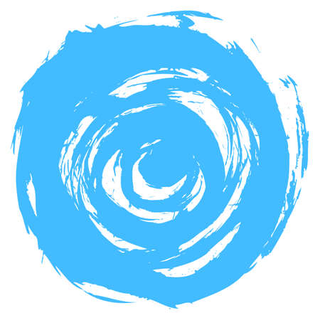 Use it in all your designs. Blue brushstroke in the form of a round. Ink sketch drawing created in handmade technique. Quick and easy recolorable shape. Vector illustration a graphic element