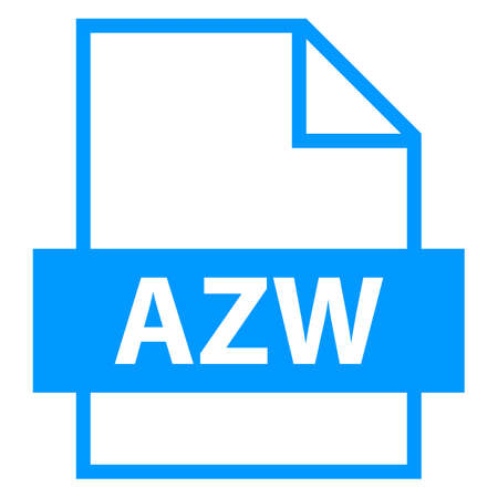 file type: Use it in all your designs. Filename extension icon AZW Amazon Word in flat style. Quick and easy recolorable shape. Vector illustration a graphic element.