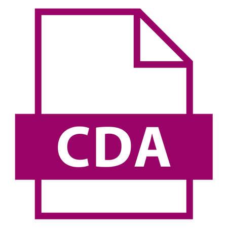 모든 디자인에서 사용하십시오. 파일 이름 확장 아이콘 CDA CD 오디오 트랙 (플랫 스타일). 빠르고 쉬운 recolorable 모양. 벡터 일러스트 레이 션 그래픽 요