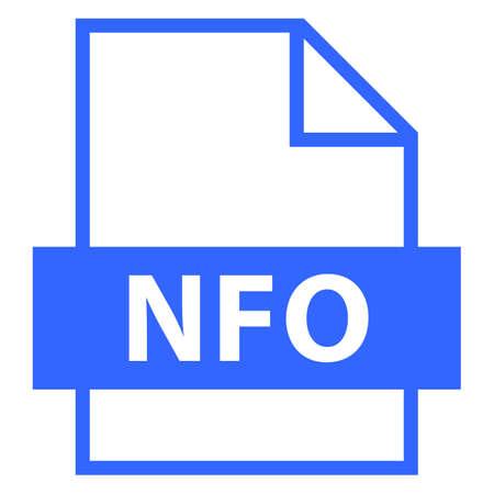 모든 디자인에서 사용하십시오. 파일 이름 확장 아이콘 INFO 또는 INFORMATION의 NFO 축소가 플랫 스타일입니다. 빠르고 쉬운 recolorable 모양. 벡터 일러스트  일러스트