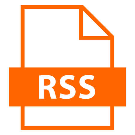 Use it in all your designs. Filename extension icon RSS Rich Site Summary or Really Simple Syndication in flat style. Quick and easy recolorable shape. Vector illustration a graphic element.