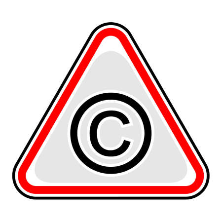 Use it in all your designs. Red and black triangular sticker with copyright sign. Triangle hazard, warning, danger symbol. Quick and easy recolorable vector illustration