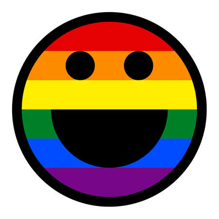 Use it in all your designs. Happy smiling face emoticon smiley icon painted in the colors of the LGBT movement rainbow flag. Quick and easy recolorable graphic element in technique vector illustration