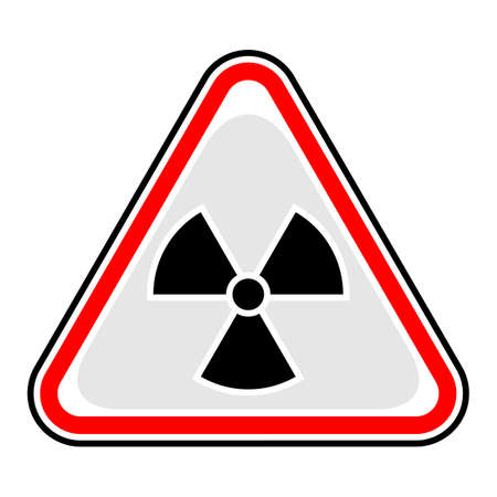 uranium: Use it in all your designs. Red and black triangular sticker with ionising radiation sign. Triangle hazard, warning, danger symbol. Quick and easy recolorable vector illustration