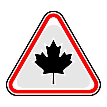 Red and black triangular sticker with Canadian maple leaf sign. Illustration