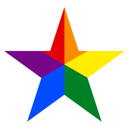 Rainbow pride flag LGBT movement in star shape.