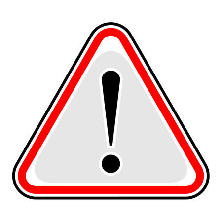 Red attention sign triangular shape with exclamation mark point.