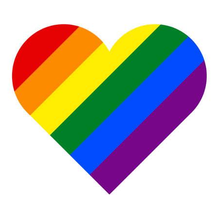 Rainbow pride flag LGBT movement in heart shape. Çizim