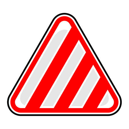 Triangle hazard, attention, warning, danger sign with diagonal warning stripes. 向量圖像