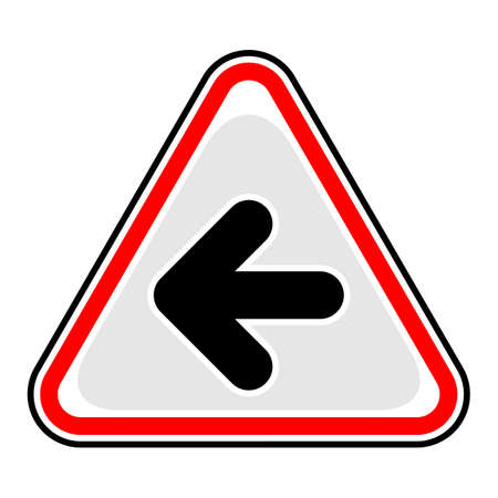 Use it in all your designs. Red and black triangular sticker with arrow left sign. Triangle hazard, warning, danger symbol. Quick and easy recolorable vector illustration
