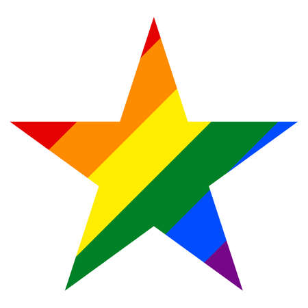 Use it in all your designs. Rainbow pride flag LGBT movement in star shape. This vector illustration a graphic element for design. Stock Vector - 86277969