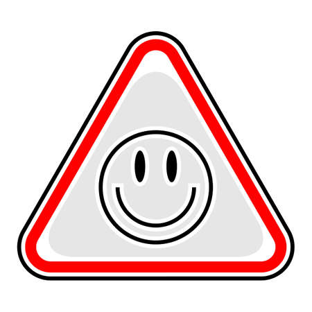 Use it in all your designs. Red and black triangular sticker with smiley face sign. Triangle hazard, warning, danger symbol. Quick and easy recolorable vector illustration