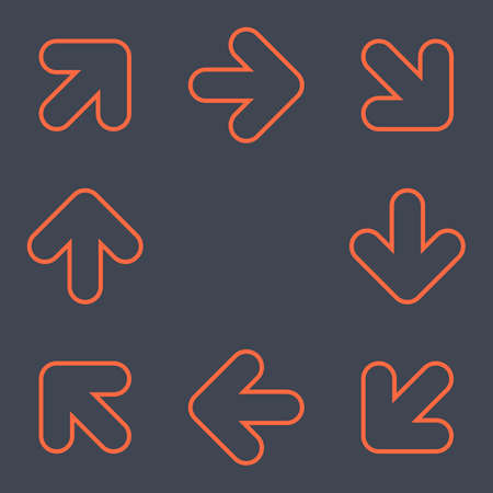 Arrows signs make a circle movement. Red icons created in flat style. The design graphic element is saved as a vector illustration in the EPS file format.