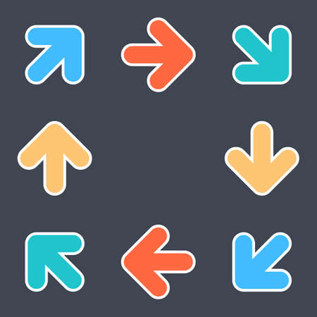 Arrows signs make a circle movement. Colored icons with a white outline created in flat style. The design graphic element is saved as a vector illustration in the EPS file format.
