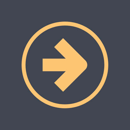 Arrow sign in a round icon. Yellow button is created in flat style. The design graphic element is saved as a vector illustration in the EPS file format.