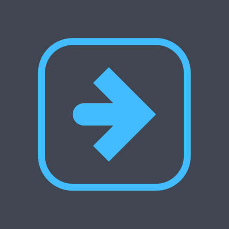 Arrow sign in a square icon. Blue button is created in flat style. The design graphic element is saved as a vector illustration in the EPS file format. Ilustrace