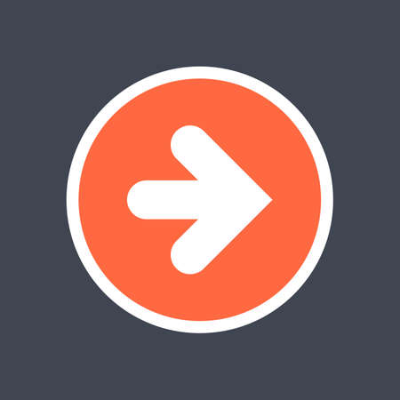 Arrow sign in a round icon. Red button is created in flat style. The design graphic element is saved as a vector illustration in the EPS file format.