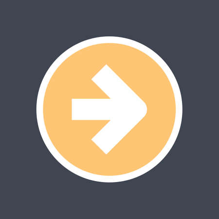 Arrow sign in a round icon. Yellow button is created in flat style.