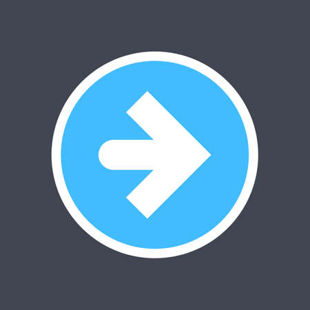 Arrow sign in a round icon. Blue button is created in flat style. The design graphic element is saved as a vector illustration in the EPS file format. Ilustrace