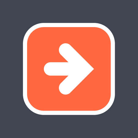 Arrow sign in a square icon. Red button is created in flat style. The design graphic element is saved as a vector illustration in the EPS file format.