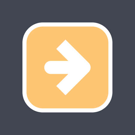 Arrow sign in a square icon. Yellow button is created in flat style. The design graphic element is saved as a vector illustration in the EPS file format. Ilustrace