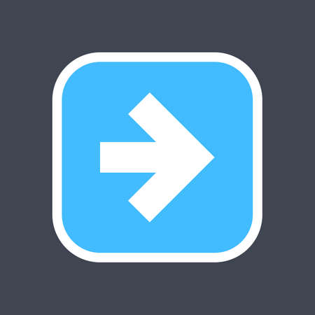 Arrow sign in a square icon. Blue button is created in flat style. The design graphic element is saved as a vector illustration in the EPS file format. Illustration