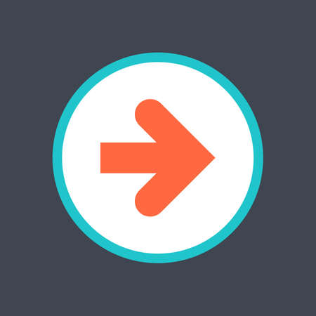 Arrow sign in a round icon. Web button is created in flat style. Ilustrace