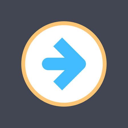 Arrow sign in a round icon. Web button is created in flat style. The design graphic element is saved as a vector illustration in the EPS file format.