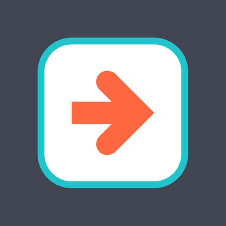 Arrow sign in a square icon. Web button is created in flat style. The design graphic element is saved as a vector illustration in the EPS file format.