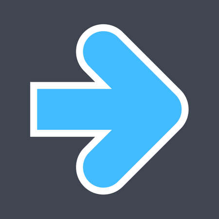 Arrow sign created as a sticker icon with a white outline. Blue navigation symbol designed in flat style. The design graphic element is saved as a vector illustration in the EPS file format.